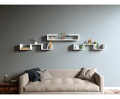 Mensola da muro DOVE - Mensola Parete - Mensola Libreria - Scaffale pensile per studio / soggiorno in un design moderno (Bianco)