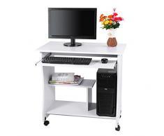 Computer Scrivania Workstation Mobili Studio Portatile con Tastiera e Ripiani Scorrevoli per Casa e Ufficio 80 x 48 cm x 74 cm (bianco)