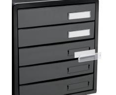 Rotho 1113208080 Cassettiera contenitore con cassetti per ufficio Timeless in materiale plastico (PS), 5 cassetti chiusi, formato A4, con etichette, ottima qualità, ca. 34.5 x 29 x 32 cm, nero lucido