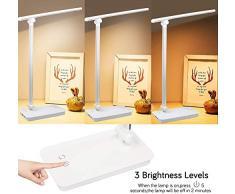 Lampada da scrivania a LED, dimmerabile 3 modalità di illuminazione 5 livelli di luminosità, lampade da tavolo pieghevoli accattivanti con porta di ricarica USB, Touch Control(Silver)