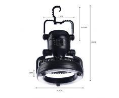 Combinazione Di Lampade Per Fanali E Lanterne Da Campeggio, Ventilatore Da Soffitto A Tenda, Tenda Da Campeggio A 18 LED Multifunzione 2 In 1 Con Ventilatore A Soffitto (Nero)