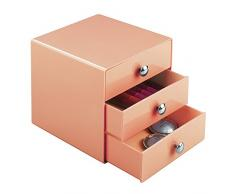 Interdesign Drawers Cassetti Porta Trucchi, Mini Cassettiera Di Qualità Per Make Up, Bijoux Ecc., Cubi Porta Cosmetici Con 3 Cassetti, Plastica Corallo