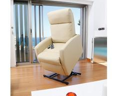 Poltrona relax massaggiante Levanta persone Compact. Funzione calore. 5 programmi. 3 tocco. 8 Motori. Doppio Telecomando. Ruote. Finta pelle di alta qualità. Tasca Vetrini. beige