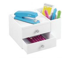 mDesign cassettiera ufficio - organizer scrivania - colore: bianco - portaoggetti ufficio con 2 scomparti laterali e 2 cassetti - per un ufficio ordinato