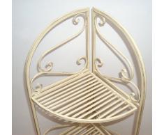 Ad, scaffalatura in metallo in stile country, vetrina ad angolo, colore antico - bianco