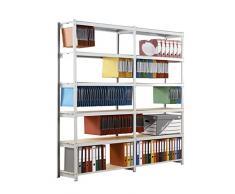 PaperFlow, scaffalatura per ufficio 5213DS, Rangeco, cartelle sospese, telaio in acciaio grigio