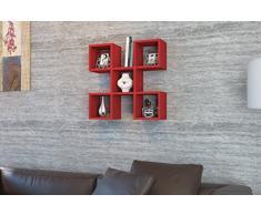 CAPRI Mensola da muro - Rosso - Mensola Parete - Mensola Libreria - Scaffale pensile per studio / soggiorno in un design moderno