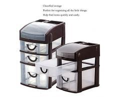 Unità di stoccaggio torre cassetto di stoccaggio in plastica,BAFFECT® unità di archiviazione cassetto con 3 cassettiera di archiviazione cassetto desktop organizzatore per scuola ufficio casa (marrone)