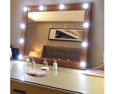 EEIEER Luci per specchietto di cortesia Stick on Strip Kit con 10 lampadine dimmerabili e USB Plug In, luci stile bianco LED per lampade da tavolo a specchio illuminate
