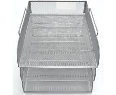 Imbottitura in rete argento carico anteriore 3 vassoi Lettera file Vassoio porta Organizer Desktop Ufficio