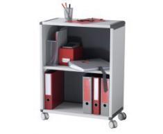 PAPERFLOW DM2K2.11 - Mobiletto da ufficio con 2 scomparti e rotelle, colore: Grigio/antracite