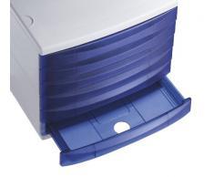Rotho 1108106159 Cassettiera contenitore per l'ufficio Quadra in plastica (PS), 6 cassetti chiusi, formato A4, di ottima qualità, circa 37 x 28 x 25 cm, grigio/blu