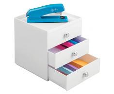 mDesign organizer scrivania - cassettiera ufficio - colore: bianco - 3 eleganti cassetti cancelleria - per una scrivania sempre in ordine
