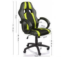 TRESKO® Poltrona Sedia direzionale da ufficio Racer classe di lusso - disponibile in diversi colori (nero/verde chiaro)