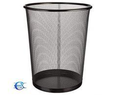 EUROXANTY cestino per la carta | 27 x 24 cm | Pattumiera nera circolare | Cestino carta ufficio | In rete | Griglia metallica | 10 L | Pack 2 unità
