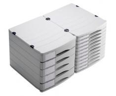 Rotho 1107106189 Cassettiera contenitore con cassetti per ufficio Profiline in materiale plastico (PS), 10 cassetti chiusi, formato A4, con etichette, ottima qualità, ca. 38.5 x 29.5 x 30.5 cm, grigio