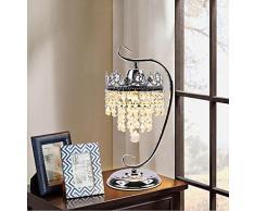Crystal lampada da tavolo camera da letto comodino semplice europea moderna e lussuosa camera di nozze creative cassettiera scrivania lampada trucco 39 * 19CM, interruttore a pulsante