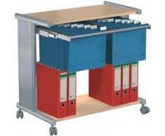 Kerkmann 3529-2 - Carrello archivio pragma con 2 ripiani, in alluminio e legno di faggio chiaro