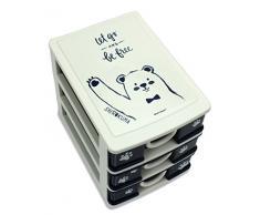 Moshi Moshi Shirokuma cassettiera mini, 3, porta oggetti, organiser da scrivania.