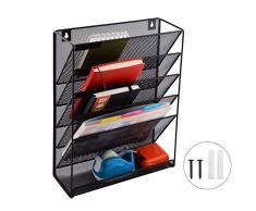 5 Vassoio File Documento Posta Rivista Organizzatore,Maglia Metallo File Da appendere Al Muro Ufficio Casa Organizzatore Titolare con Cosmetici gratuiti Organizzatore di viaggi con 10 tasche