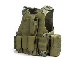 YAKEDA® Ventilatori Army Tactical Vest Cs campo Swat Tactical Vest dell'esercito all'aperto Vest Cs gioco Vest Cosplay di Counter Strike gioco Vest-322 (verde)