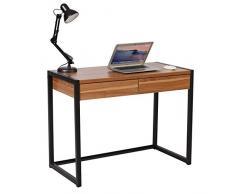 WOLTU TSG27dc Scrivania Libreria Tavolo da studio PC Computer con 2 Cassetti Ufficio Lavoro Scaffale Moderno in Acciaio Legno 100x50x76cm