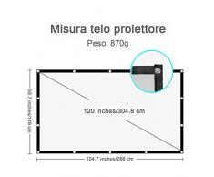 Hicool Telo Proiettore Schermo Formato 16:9 120'' Pieghevole Portatile per Videoproiettore, Schermo di Proiezione per Aperto o Home Cinema
