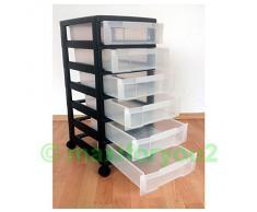 Cassettiera con rotelle, carrello, cassetti, armadio con 6 cassetti in ufficio 02010601