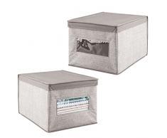 mDesign set da 2 scatola per armadi in tessuto – Portaoggetti universale molto capiente – Scatolone ottimo anche per l'ufficio – Colore: grigio