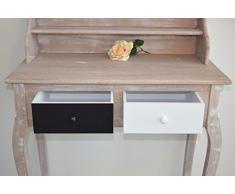 Mobili Rebecca® Scrittoio Consolle 2 Cassetti Legno Marrone Bianco Nero Classico idee casa Ingresso Salotto (Cod. RE4110)