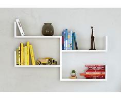 FRESH Mensola da muro - Mensola Parete - Mensola Libreria - Scaffale pensile per studio / soggiorno in Design moderno ... (Bianco)