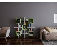 LARA Libreria - Bianco / Verde - Scaffale per libri - Scaffale per ufficio / soggiorno dal design moderno