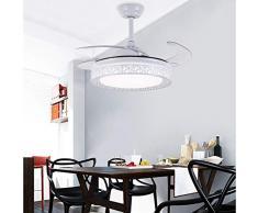 ADNFC Lampade a sospensione Ventilatori da soffitto da 42 pollici con lampada, ristorante, lampadario con ventilatore, illuminazione a sospensione a LED, ventilatore PC, paralume in acrilico, interrut