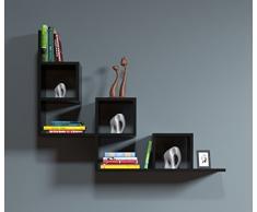 TAIL Mensola da muro - Mensola Parete - Mensola Libreria - Scaffale pensile per studio / soggiorno in un design moderno (Nero)