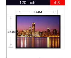 Excelvan Portatile e Pieghevole 120 Pollici 4: 3 Tessuto Proiettore Bianco Opaco Schermo di Proiezione Materiale