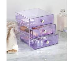 mDesign cassettiera portaoggetti – Multiuso – Organizer scrivania e organizer cosmetici – Ideale per ogni tipo di stanza e necessità – Con 3 cassetti – Robusto e resistente