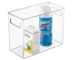 mDesign pratico Contenitore Trasparente con manici integrati – box in plastica per il riordino di oggetti in cucina, ufficio e bagno – colore scatola: trasparente