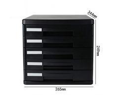 BBG Armadi per Archivi Di Ufficio Armadi per Archivi Di File Armadi per File Di Desktop Armadietto Di Stoccaggio per Cassetti in Plastica A4 5 Strati (Colore: Nero),Nero
