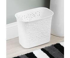 mDesign cestino spazzatura forato – perfetto sia come cestino portacarte che per la raccolta rifiuti – per cucina, bagno, ufficio – design moderno e capienza 5,6 l – colore: bianco