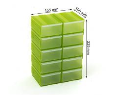 Cassettiera organizer modulare porta minuteria con 10 cassetti, colore: verde