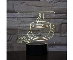 Tazza di caffè calda Lampada da tavolo a LED 3D Visual Lampada da tavolo visiva a 7 colori Regali per lampade da comodino Illuminazione per il sonno Decorazioni per ristoranti