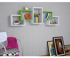 BERRIL Mensola da muro - Bianco / Verde - Mensola Parete - Mensola Libreria - Scaffale pensile per studio / soggiorno in Design moderno