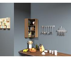 Homidea SIDE Mensola da angolo - Mensola Parete - Mensola da muro - Scaffale pensile per studio/soggiorno in un design moderno (Noce)