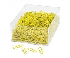 Wedo 901244605 - Graffette da ufficio in metallo rivestito, 1000 pezzi in scatola trasparente, 27 mm, colore: Giallo