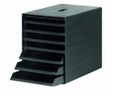 Durable 1712001060 Idealbox Plus Cassettiera da Scrivania con 7 Cassetti con Frontalini Aperti, Sportellino Frontale, Confezione da 1 Pezzo, Nero
