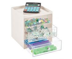 mDesign Mini cassettiera da appoggio — Cassettiera da ufficio per cancelleria — Pratico portaminuterie da tenere sulla scrivania — crema/trasparente