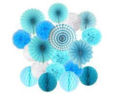 Cocodeko Ventilatori di Carta Decorazione Pompons e Palle a Nido d'ape Per decorazione della festa nuziale nozze Nidi Tatuaggi nuziale doccia Camera della decorazione della parete - Blu