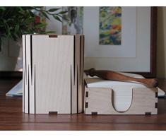 Di forma quadrata penna matita Holder Ufficio Scrivania Organizzatore e blocco di carta Holder/Betulla, colore: naturale, Farfalla Cut Out Design