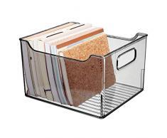 mDesign Scatola di immagazzinaggio con Maniglie Integrate - Contenitore per la conservazione di Utensili da Cucina, da Bagno o da Ufficio - Scatola per la scrivania in plastica - Grigio Fumo