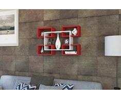 MIKANOS Mensola da muro - Bianco / Rosso - Mensola Parete - Mensola Libreria - Scaffale pensile per studio / soggiorno in un design moderno